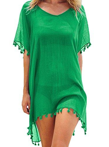 Damen Strandkleid Bikini Cover Up Quasten Strandponcho Sommer Bademode Freie Größe Grün