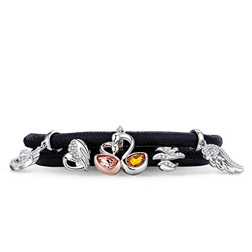 925Argent perles corde/ corde/ bracelet de cygnes G