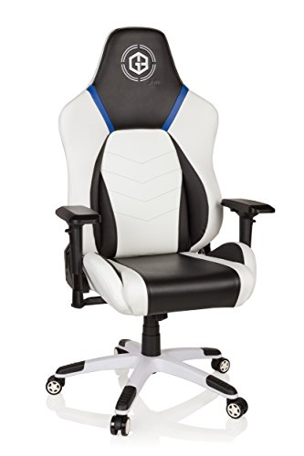HJH Office 734280 silla gaming GAMEBREAKER POLAYS piel sintética blanco silla de oficina silla racing
