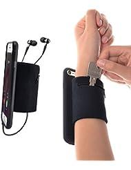 WANPOOL Sport Schweißband Handgelenksband Unterarmband mit Kleiner Tasche für Schlüssel und Kleingeld für iPhone 7 Plus, Schwarz & Schwarz