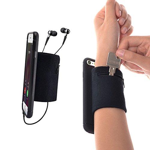 WANPOOL Sport Schweißband Handgelenksband Unterarmband mit Kleiner Tasche für Schlüssel und Kleingeld für iPhone 6 / 6s, Schwarz & Schwarz