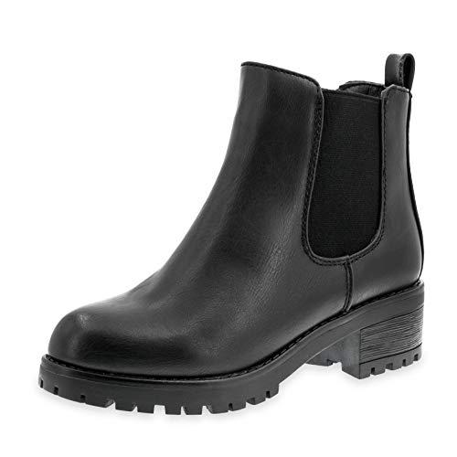 Marimo Damen Stiefeletten Chelsea Ankle Boots Lederoptik Blockabsatz Profilsohle Plateau Schwarz 41