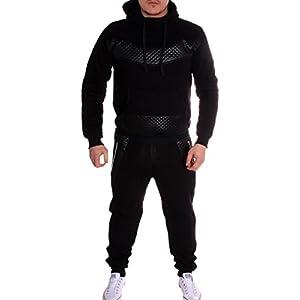 Violento Herren Jogging-Anzug | mit Bündchen und Tunnelzug | Enger Beinabschluss | Sport-Anzug mit Bauchtasche | Leder Design 610 | S-XXL