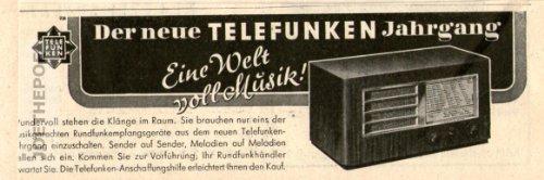 1936 - Anzeige / Inserat : EINE WELT VOLL MUSIK / DER NEUE TELEFUNKEN JAHRGANG / RADIOS - Format 110x35 mm - alte Werbung / Originalwerbung/ Printwerbung / Anzeigenwerbung