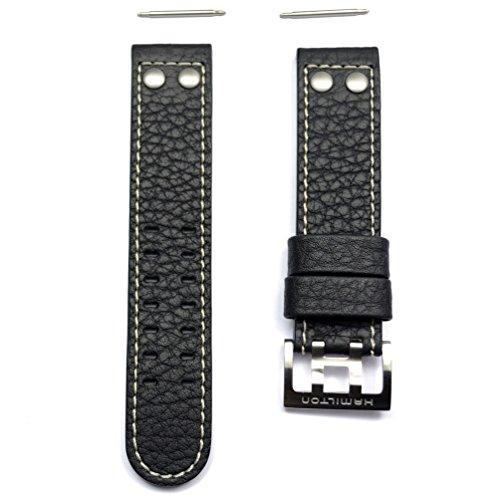 Armband Leder Schwarz Band Uhr Hamilton Khaki X Wind Auto 22mm h600.776.116
