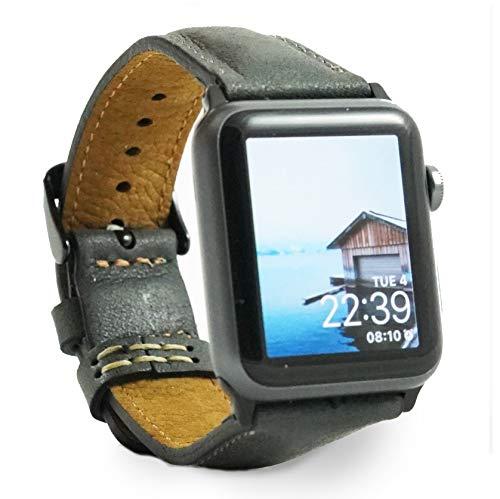 BEMFEY Lederarmband Modena Grau kompatibel mit Apple Watch Black Series 1/2/3 in 42 mm/Series 4 in 44mm -