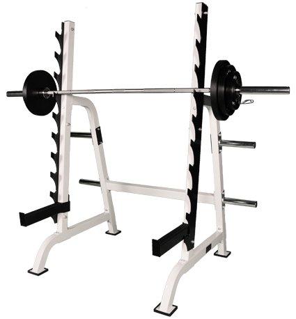 Deluxe Kniebeugenständer / Squat Rack weiß inkl. externer Ablage BCA-50