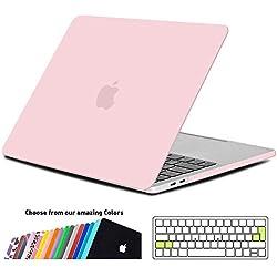 iNeseon Coque Macbook Pro 13 Pouces 2018/2017/2016, Plastique Étui Protection Case Cover avec EU Transparent Couvercle de Clavier pour MacBook Pro 13 A1989/A1706/A1708, Quartz Rose
