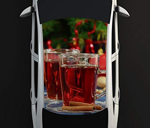 Digitaldruck Autoaufkleber Dach Weihnachten Tee Tasse Winter Fest Auto Tuning bunt Aufkleber Airbrush Racing Autofolie Car Wrapping CA356, D Aufkleber Größe:115cmx205cm -