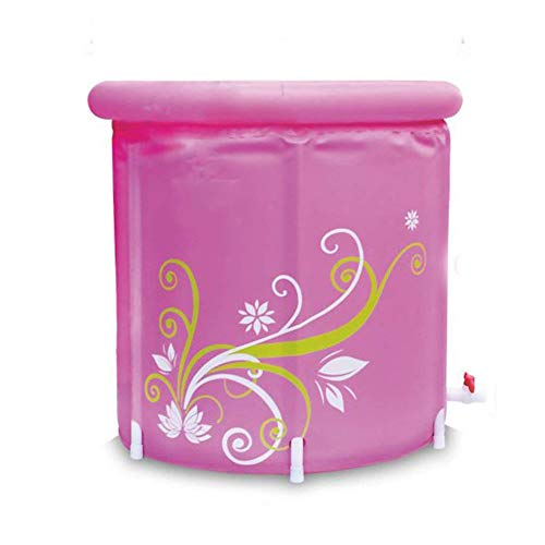 Joyfitness Erwachsene aufblasbare faltende Badewannen-tragbare Starke rosa Blumen-Blatt-Familien-Duschwanne,Rosa,S