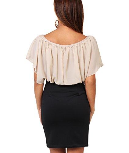 KRISP® Damen Kleid Chiffon Stretch Minikleid Sandstein (3632) ...