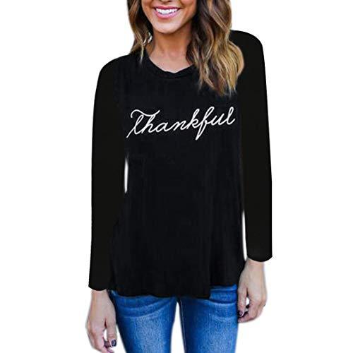 Langarmshirt Damen Kurzarm Shirt Frauen Herbst Casual Brief Print Langarm Bluse Rundhals Falten T-Shirt Casual Stretch Tunika ()
