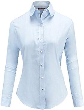 Dioufond Camisas Mujer Manga Larga Profesional Blusa Solido para Trabajo