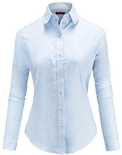 Dioufond® Damen Bluse Schlank Oxford Arbeithemd Hemdkragen mit Knöpfe Business Bluse Bügelfrei (L, Blau)