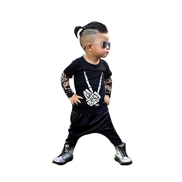 HCFKJ ReciéN Nacido NiñO Bebé Esqueleto Tatuaje Camiseta Tops Pantalones Ropa Conjunto 1