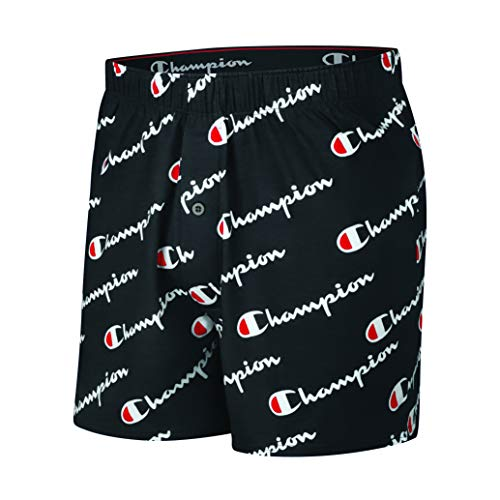 Champion LIFE Herren C Script Knit Boxer Boxershorts, Black Print, X-Large Champion Sweatshirt Stretch
