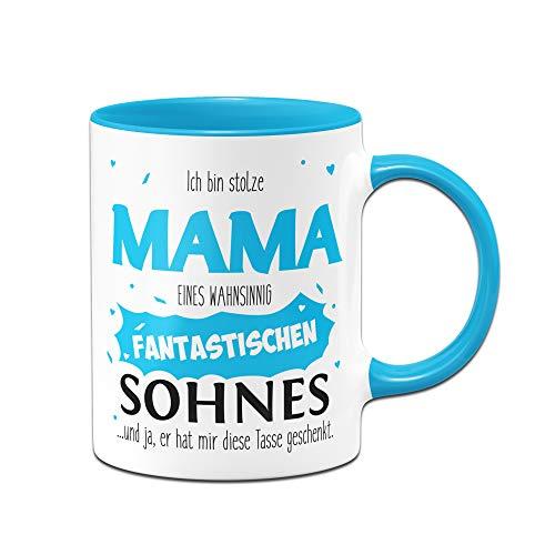 Tassenbrennerei Tasse mit Spruch Stolze Mama Sohn, Geburtstagsgeschenk, Geschenk für Mama zum Muttertag - Tassen mit Sprüchen lustig (Blau)