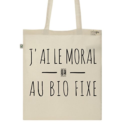 Tote Bag Imprimé Ecru - Toile en coton bio - J'ai le moral au BIO fixe