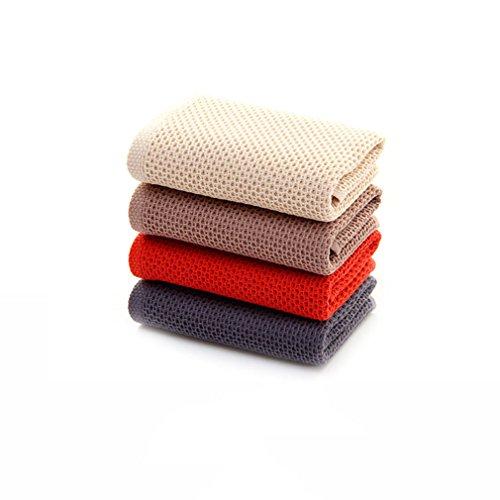 Handtücher Satz von 4 reiner Baumwolle quadratische Handtücher Mikrofaser glänzende Tücher Geschirrtücher zellulären quadratischen Handtücher Frühling stricken Muster 32 cm x 32 cm Haus und Hotel Bademäntel