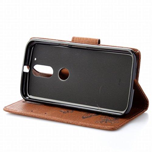 LEMORRY Motorola Moto G4 Plus Custodia Pelle Cuoio Flip Portafoglio Borsa Sottile Fit Bumper Protettivo Magnetico Chiusura Standing Card Slot Morbido Silicone TPU Case Cover Custodia per Motorola Moto Marrone