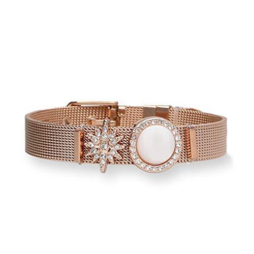 URBANHELDEN - Mesharmband - GLAMOROUS - aus Edelstahl - Mesh Charm Armband - Charms austauschbar - Größen verstellbar - Damenarmband Charmband (Silber, Rosegold o. Gold)