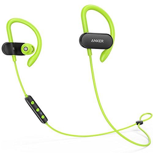 Anker SoundBuds Curve Bluetooth Kopfhörer Bluetooth 4.1 Sport Kopfhörer mit Ohrbügeln/Wasserschutzklasse IPX5/14-Stunden-Spielzeit/CVC Lärmreduzierung/Mikrofon/Etui, Lauf-Training Headset(Grün)