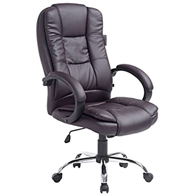 Modern Design High Back PU Leather Chrome Base Office Chair In three Colors - cheap UK chair shop.