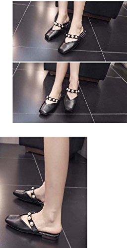 SHEO sandales à talons hauts Chaussures droites antidérapantes Baotou à tête plate à dames ( Couleur : Blanc , taille : 38 ) Noir