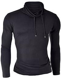 D&R Fashion Hommes Pull Sweatshirt Slim Fit Lumière vêtements d'hiver Casual des épaules côtelés
