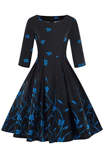 """Axoe Damen 60er Jahre Petticoat Rockabilly Kleider mit 3/4 Ã""""rmel,F02,3XL"""