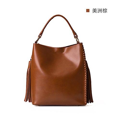 Sac à main en cuir tressé sac épaule Sac fourre-tout sacs à main simple,poudre cristalline America Brown