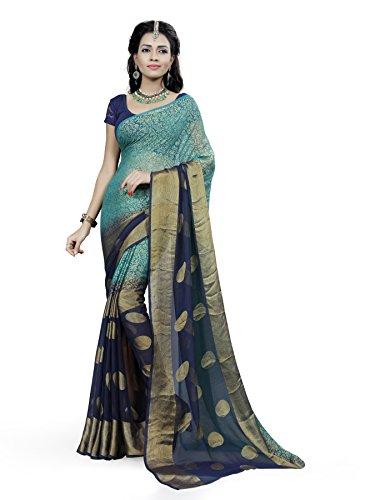 Fressia Fabrics Women's Brasso Saree (Khushi _Brasso,Blue,Free Size)