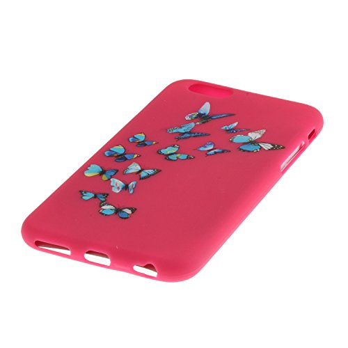 Voguecase® Pour Apple iPhone 6/6S 4,7, TPU avec Absorption de Choc, Etui Silicone Souple, Légère / Ajustement Parfait Coque Shell Housse Cover pour iPhone 6/6S 4,7 (Jaune-Love plume 01)+ Gratuit style Rose-papillon bleu 08