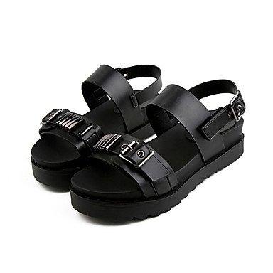 LvYuan Sandali-Formale Casual-Comoda-Piatto-PU (Poliuretano)-Nero Bianco Black