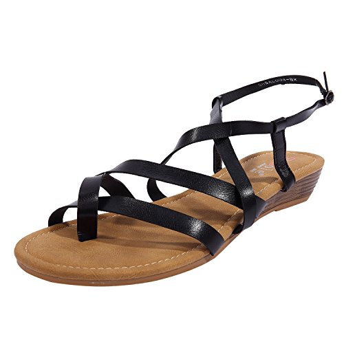 8a8df16fb8457 SheSole Womens Ladies Flip Flops Strappy Gladiator Sandals Low Heel Wedge  Flat Shoes Black UK 4