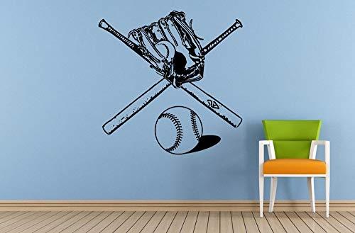 Wandaufkleber Vinyl Kunst Dekor Fledermaushandschuh Zwei Fledermäuse Sportausrüstung Werkzeuge Baseball Wand Poster Removeable Design 57X57 cm
