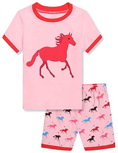 Kinder-schlaf-hose (Untlet Mädchen Zweiteiliger Schlafanzug Baumwolle Kinder Kurze Ärmel Pyjama 100 110 120 (PAT3, 110))