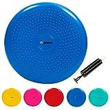ScSPORTS Sitzkissen Pilates Luftpad Balance Kissen Luftkissen, aufblasbar mit Pumpe, einseitig mit Noppen, 34 cm, blau