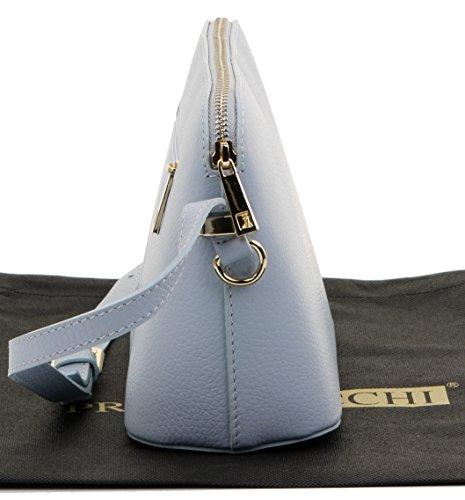 Italiano texture pelle tracolla regolabile triangolare piccola tracolla o borsa a tracolla.Include una custodia protettiva marca Blu chiaro