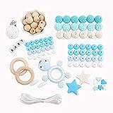baby tete Baby Zahnen Spielzeug DIY Krankenpflege Halskette Baby Spielzeug Kinderkrankheiten Perlen Schildkrötenanhänger aus Silikon Blaue Serie