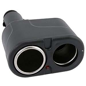 niceeshop(TM) 12V DC Dual USB Car Charger Cigar Cigarette Lighter Double Power Adapter Socket Splitter-Black