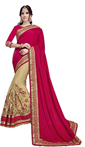 SareeShop sarees womens Pink Georgette Jacquard Party & Festival Wear Saree with Blouse Piece (pink)(Free Size)