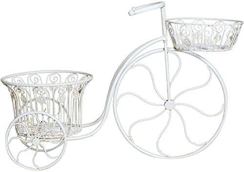 Bicicletta portafiori in ferro battuto finitura bianca anticata l72xpr28xh48 cm