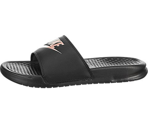 new style 75b32 ab454 Nike Women s Benassi Just Do It Slide Sandal, Black Rose Gold, 9 Regular