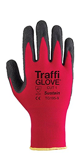 traffiglove-tgz195-09-size-9-sustain-cut-1-nylon-shell-cohesion-xp-palm-coated-gloves-red