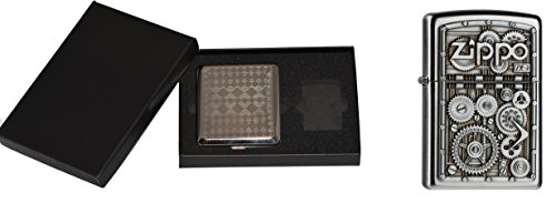 Zippo 15457 Feuerzeug Gear Wheels Plus Zigaretten Etui Gift Set, Collection 2015, Artikel Nummer 2.004.497.3, Satin Finish