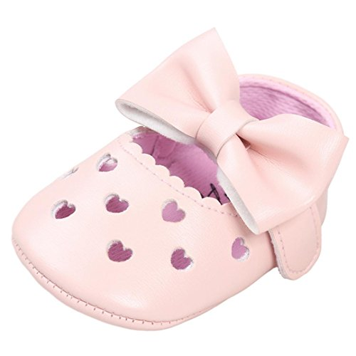 URSING Baby Mädchen Einfarbig atmungsaktiv aushöhlen Bowknot Schuh Sportschuhe Velcro Hook Schleife Sneaker Anti-Rutsch Butterfly-Knot Schläppchen (11, Rosa)