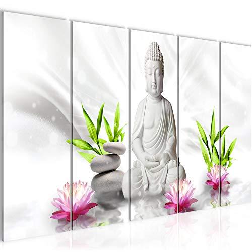 Bilder Buddha Feng Shui Wandbild 200 x 80 cm - 5 Teilig Vlies - Leinwand Bild XXL Format Wandbilder Wohnzimmer Wohnung Deko Kunstdrucke Grün - MADE IN GERMANY - Fertig zum Aufhängen 011655c