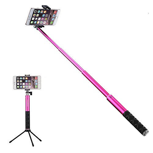 Foneso-Selfie-Stick-Monopod-con-control-remoto-Autorretrato-Con-Tripi-Bluetooth-para-Smartphones-y-GoPro-Rosa