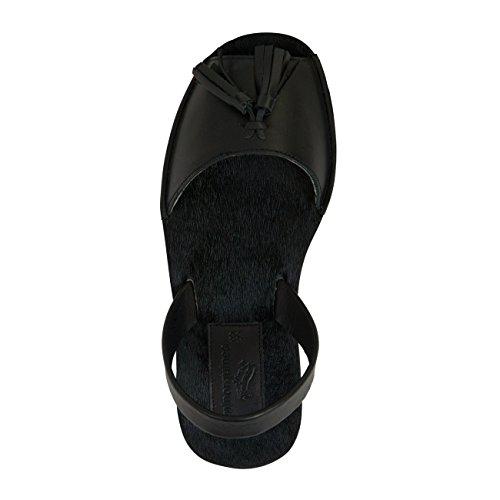 Minorquines-Sandali Avarca Creepers Negro gocce, da donna Nero (nero)